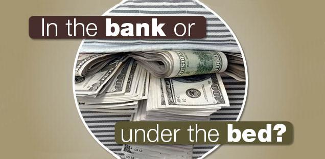 Money hidden under the mattress