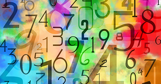 Numbers on a colorful background