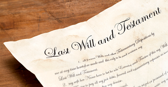A last will and testament on a table