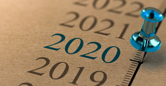 Timeline with a pushpin at 2020