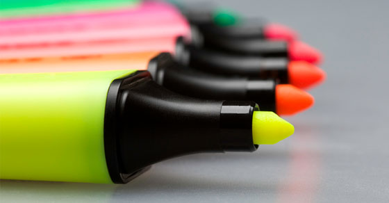 Brightly colored highlighters