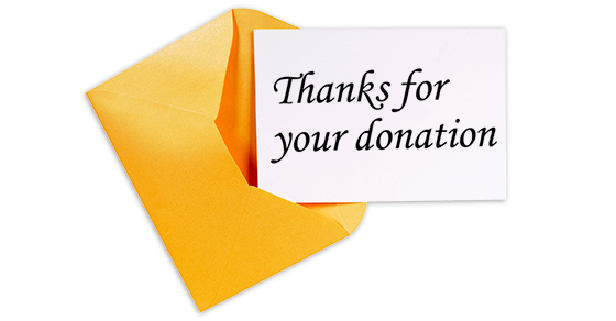 A note saying Thanks for your donation
