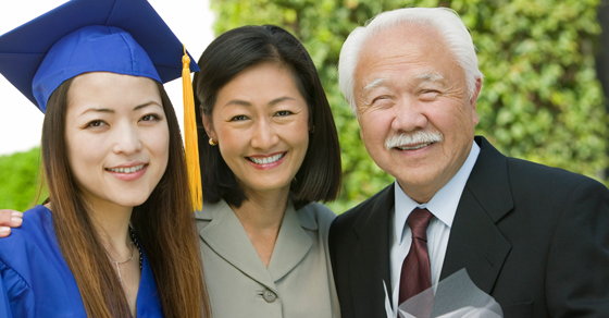 Daughter, mother and grandfather at graduation