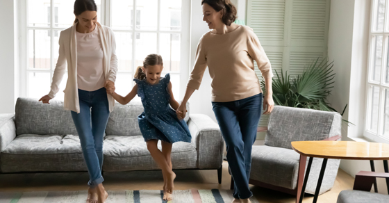 Daughter teaching Mother and Grandmother a dance.